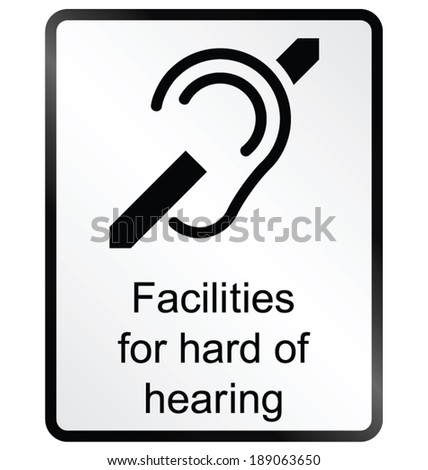 Monochrome hard of hearing public information sign isolated on white background - stock vector