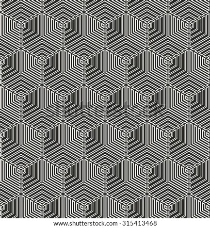 monochrome hexagonal grid pattern. seamless vector background.