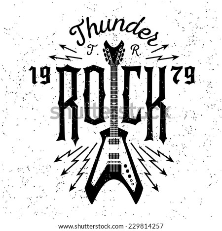 "monochrome hipster vintage label , badge , flayer  "" thunder rock "" for poster or t-shirt print with electric guitar, lightning"