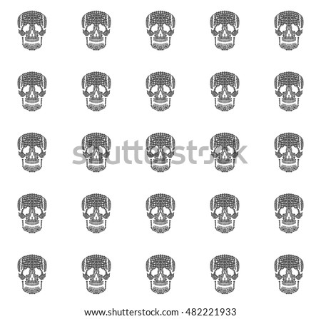 Monochrome human skulls seamless pattern on white background, outline flat death symbol, abstract vector illustration