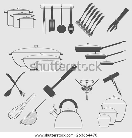 monochrome icon set with cookware