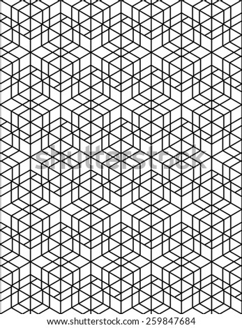 Monochrome illusive abstract geometric seamless pattern with cubes. Vector stylized texture. - stock vector
