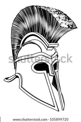 Monochrome illustration of a bronze Corinthian or Spartan helmet like those used in ancient Greece or Rome - stock vector