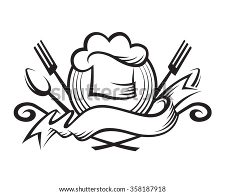 monochrome illustration of a chef hat with spoon, fork and ribbon - stock vector
