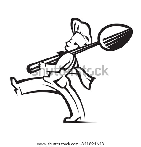 monochrome illustration of chef with spoon in hand - stock vector