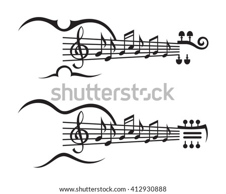monochrome illustration of music notes on stave - stock vector