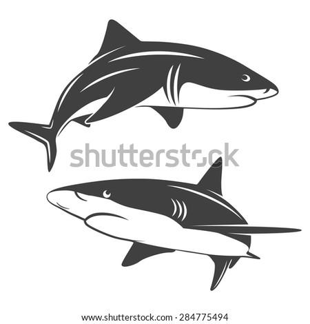 Monochrome illustration of stylized two sharks isolated on white. Vector EPS8 illustration.  - stock vector