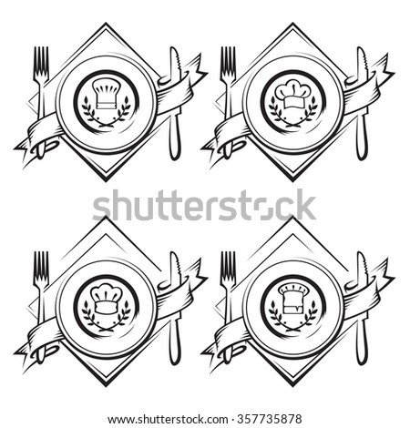 monochrome illustrations of dish with knife and fork - stock vector