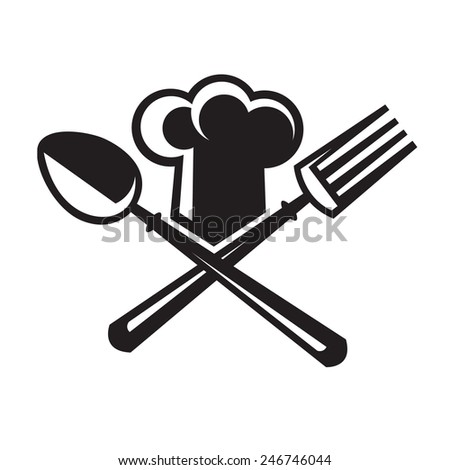 monochrome image of chef hat with spoon and fork - stock vector