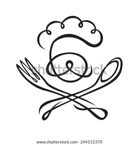 monochrome image of chef with spoon and fork - stock vector