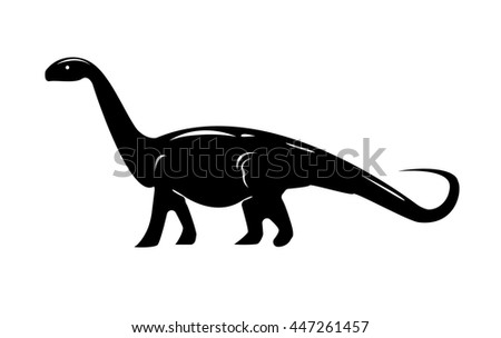 Monochrome image of diplodocus isolated on white background. Art vector illustration.