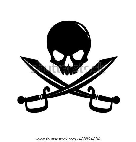 Monochrome Image Human Skull Crossed Sabers Stock Vector 468894686