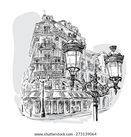 monochrome image - view on a Parisian street with a lantern in the foreground and a street cafe in the background. Vector Illustration - stock vector