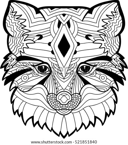 A Drawing Of Fox Head With Tribal Patterns Coloring Page
