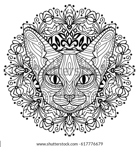 monochrome ink drawing coloring book for adults the head of a mysterious cat with - Drawing Pictures For Colouring