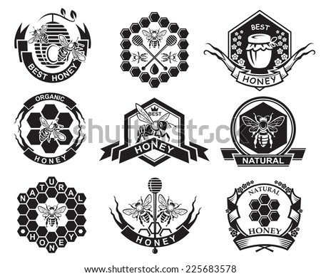 monochrome labels with bee and honey - stock vector