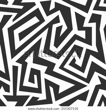 monochrome labyrinth seamless pattern  - stock vector