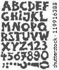 monochrome  latin letter set bitten on white background - stock vector