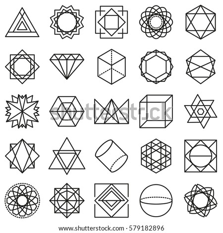 Monochrome Lines Geometric Shapes Icons Vector 579182896 on head concept