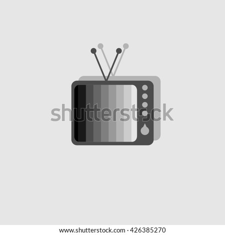 Monochrome logo of the retro TV with tuning monochrome table. - stock vector