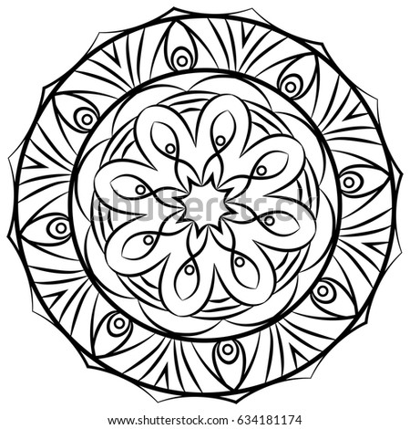 monochrome mandala the template for the album symmetrical ornament for color books beautiful - Color Books