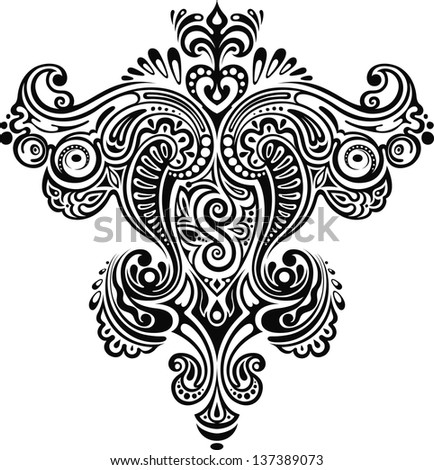 Monochrome ornament. Symmetrical monochrome floral ornament with elements.