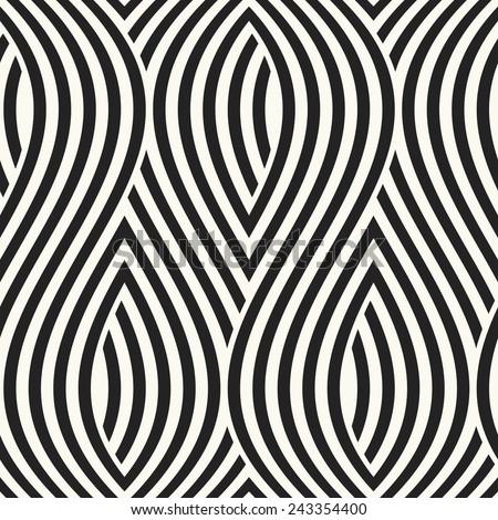 Monochrome ornate wavy striped petals. Seamless pattern. Vector. - stock vector
