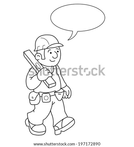 Monochrome outline cartoon builder with speech bubble for own text isolated on white background
