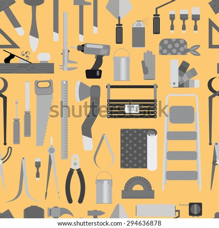 monochrome pattern of tools. Contains hammers, saw, compasses, brushes, paints, and much more. flat plot. Orange background - stock vector