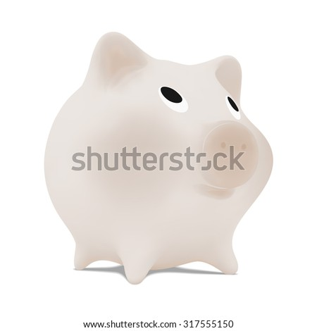 Monochrome piggy bank. Vector illustration image. Isolated on white
