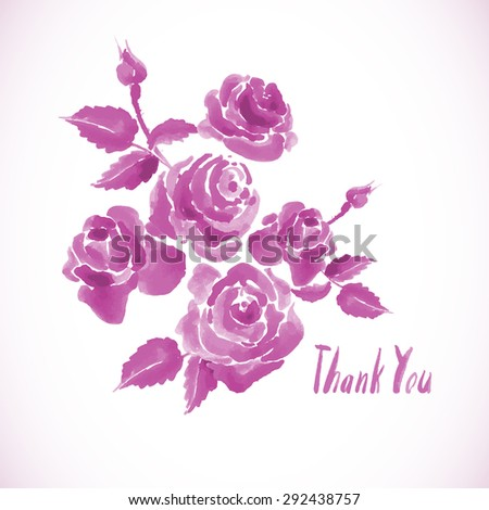 Monochrome pink watercolor greeting card with roses, vector illustration