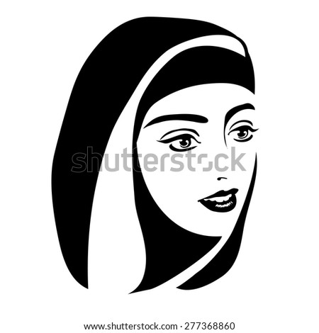 monochrome portrait of a Muslim woman in a Hijab on a white background - stock vector