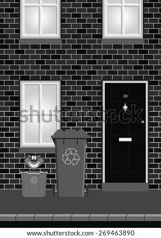 Monochrome residential house on street with recycling bins out ready for collection - stock vector