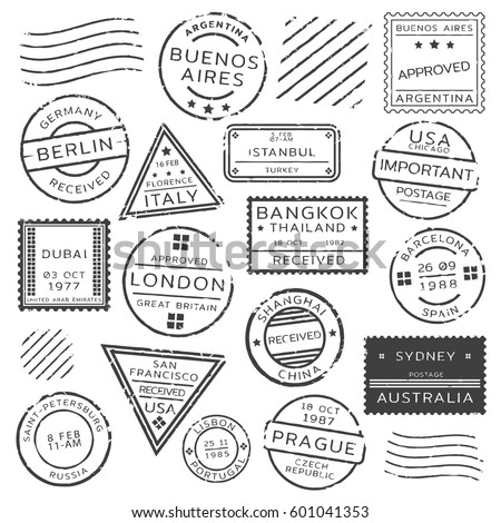 Monochrome retro postage stamps set of various shapes from different countries isolated vector illustration