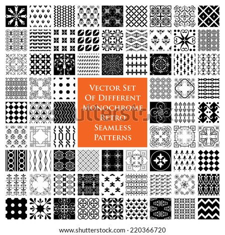 Monochrome retro seamless patterns - stock vector