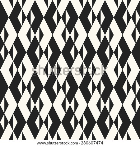 Monochrome rhombus and triangle textured background. Seamless pattern. - stock vector