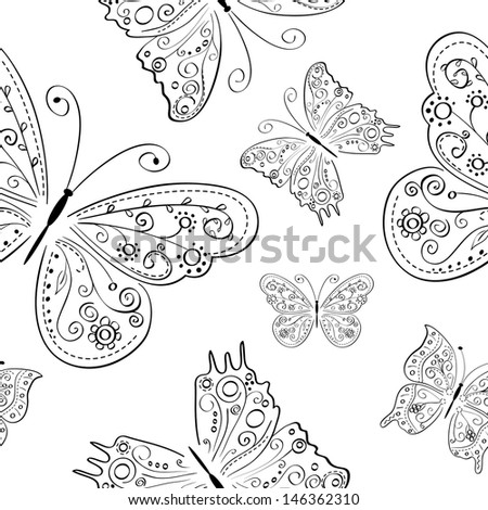 monochrome seamless abstract ornament with black hand drawing butterflies . Vector illustration - stock vector
