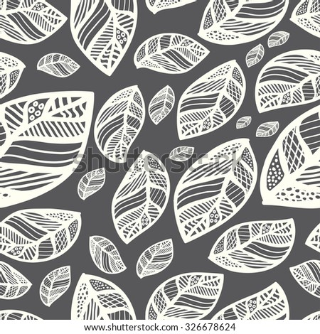 Monochrome seamless leaf pattern background vector
