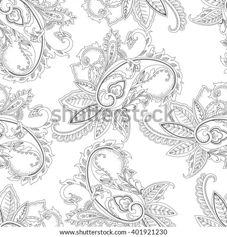 Monochrome seamless paisley vector pattern. Abstract paisley ornamental print.. Decorative Ornament. Wallpaper design. Paisley print of India. Floral wrapping background for coloring book, page, batik - stock vector