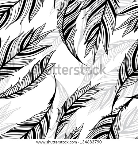 monochrome seamless pattern from feathers of birds