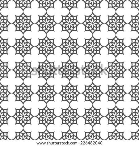 Monochrome seamless pattern in islamic motif. Vector background - stock vector