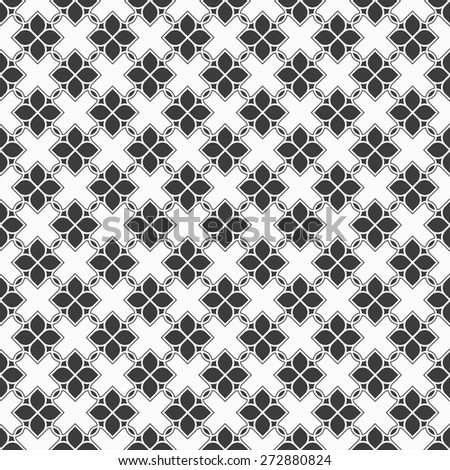Monochrome seamless pattern in oriental style - variation 6. Vector background - stock vector