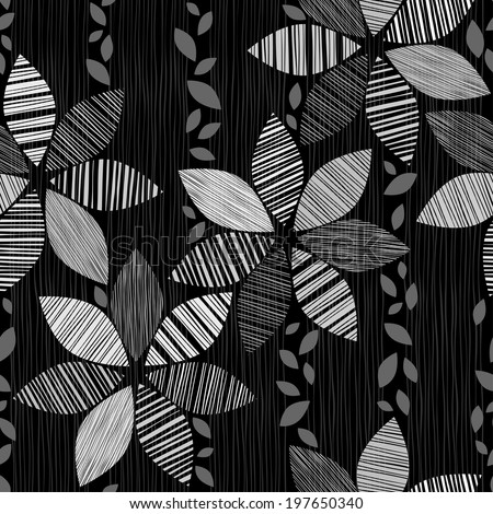 Monochrome seamless pattern of abstract flowers on a black background. - stock vector