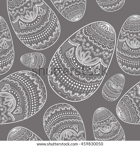 Monochrome seamless pattern of doodles eggs