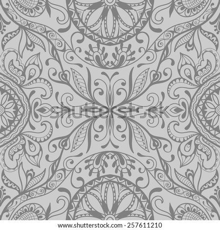 Monochrome seamless pattern. Vector repeating texture with hand drawn ornament. Stylish geometric background - stock vector
