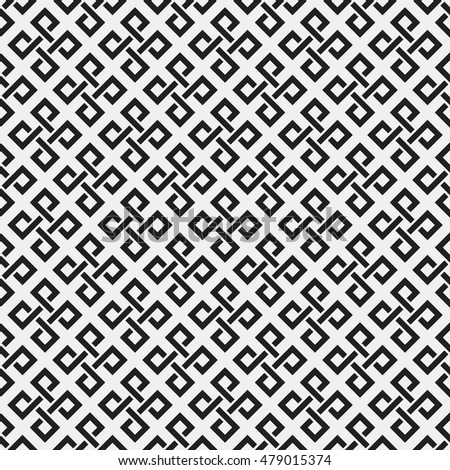 Monochrome seamless pattern with geometric elements. Useful for web background, textile, wrapping.