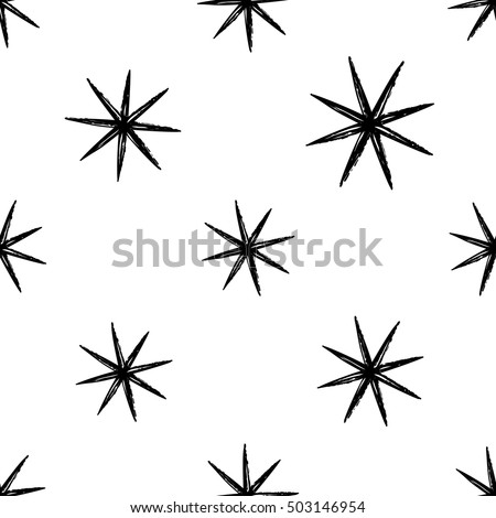 Monochrome seamless pattern with magic star. Royal signs in style of fashion illustration. Black and white vector background