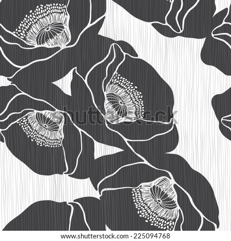 Monochrome seamless pattern with poppies. Hand-drawn floral background. - stock vector