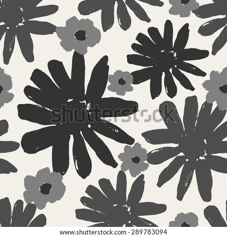 Monochrome seamless repeating pattern with hand painted flowers. - stock vector