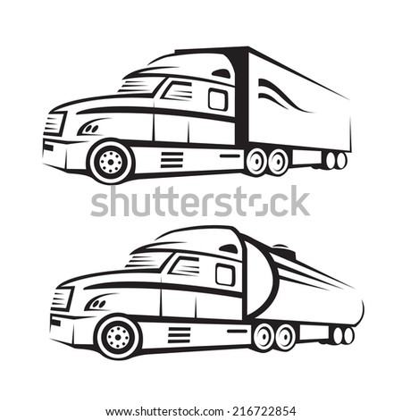 monochrome set of a truck with trailer and tank truck - stock vector